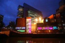the peoples history museum manchester at night